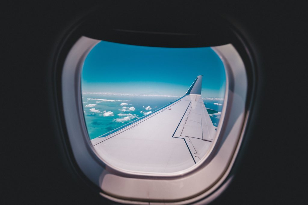 airplane wing viewed from a window
